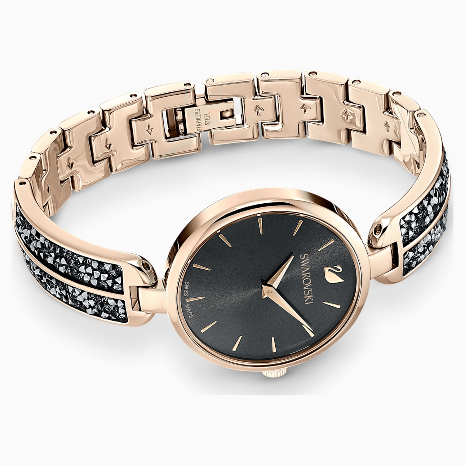 Dream Rock Uhr, Metallarmband, grau, champagne vergoldetes PVD Finish