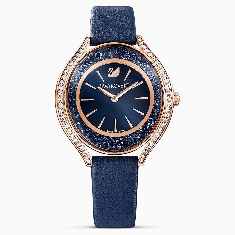 Orologio Crystalline Aura Cinturino In Pelle Azzurro Pvd Oro Rosa Swarovski Com