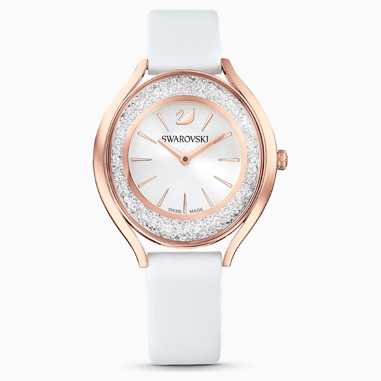 Orologio Crystalline Aura Cinturino In Pelle Bianco Pvd Oro Rosa Swarovski Com