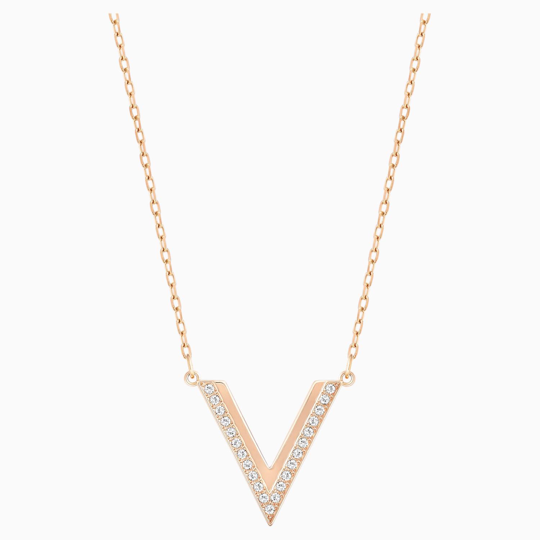 Delta Necklace White Rose Gold Tone Plated Swarovski Com
