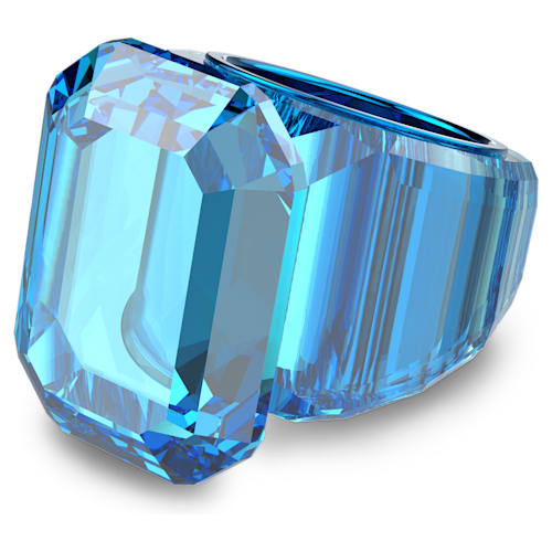 Bague cocktail Lucent, Cristal oversize, Bleu
