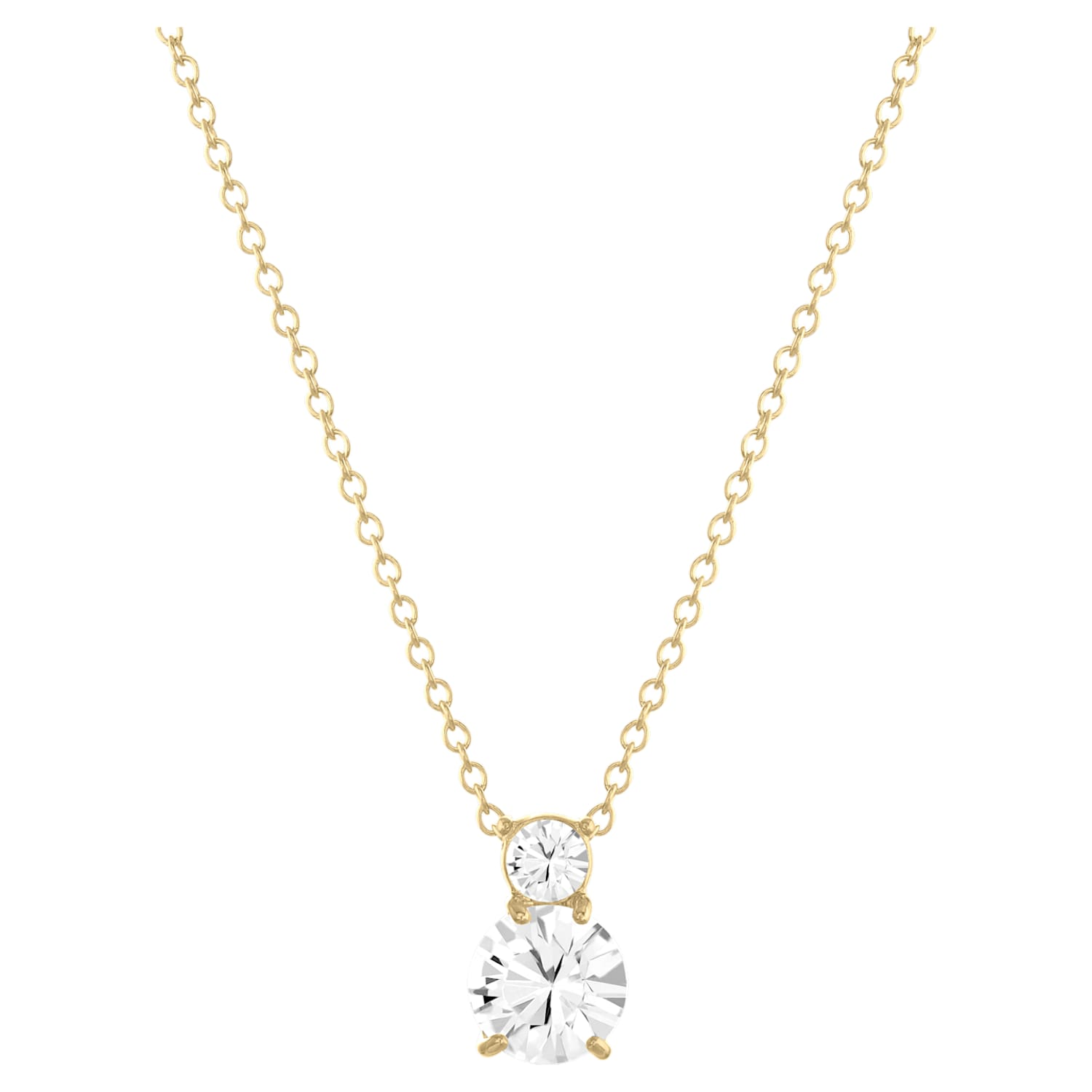 Solitaire Double Pendant, White, Gold-tone plated