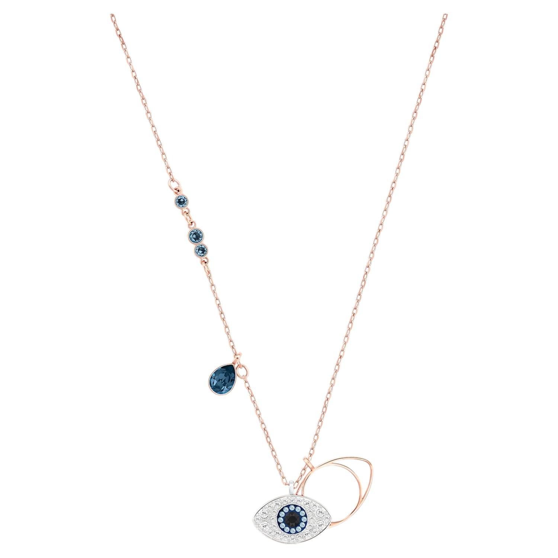 Pendentif Swarovski Symbolic Evil Eye, bleu, Finition mix de métal ...