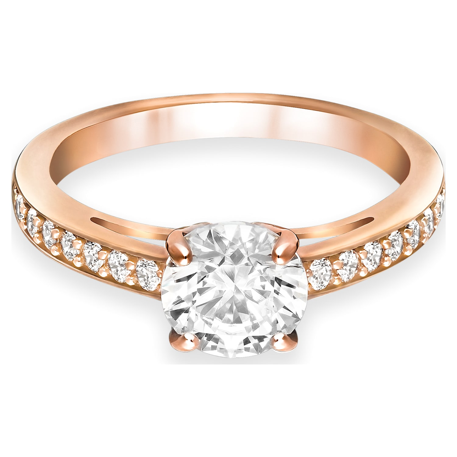 Attract ring, Round, Pavé, White, Rose-gold tone plated