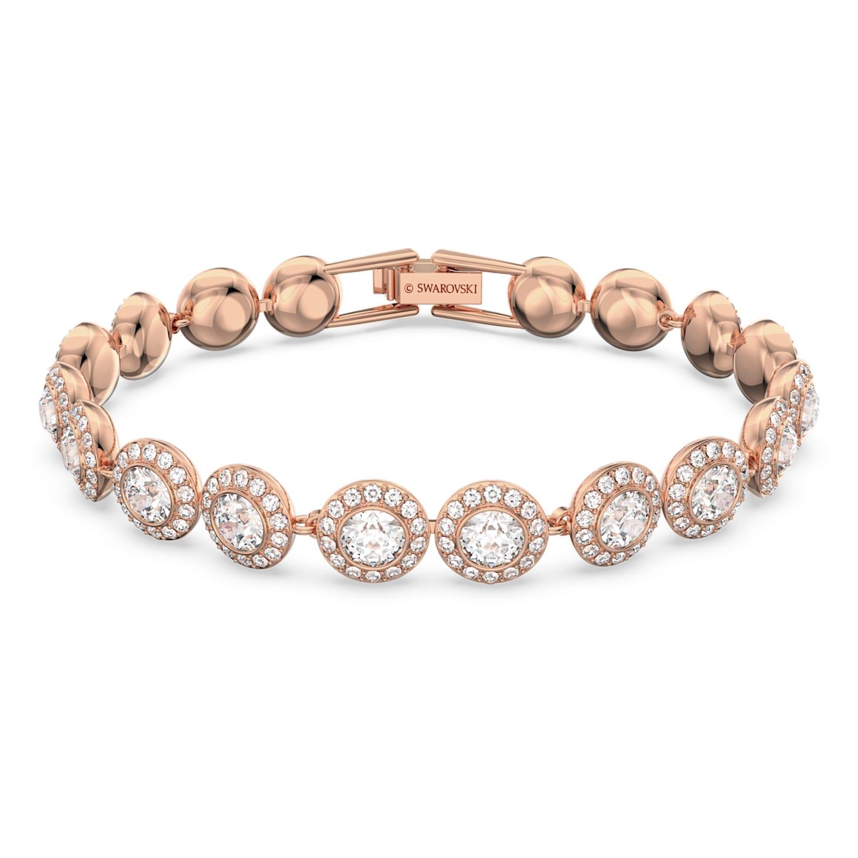Bracelet Angelic, blanc, Métal doré rose