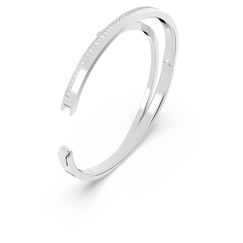 Rhodium Plated EARRS Bangle Bracelet Clear Austrian Crystals on Twist Bangle