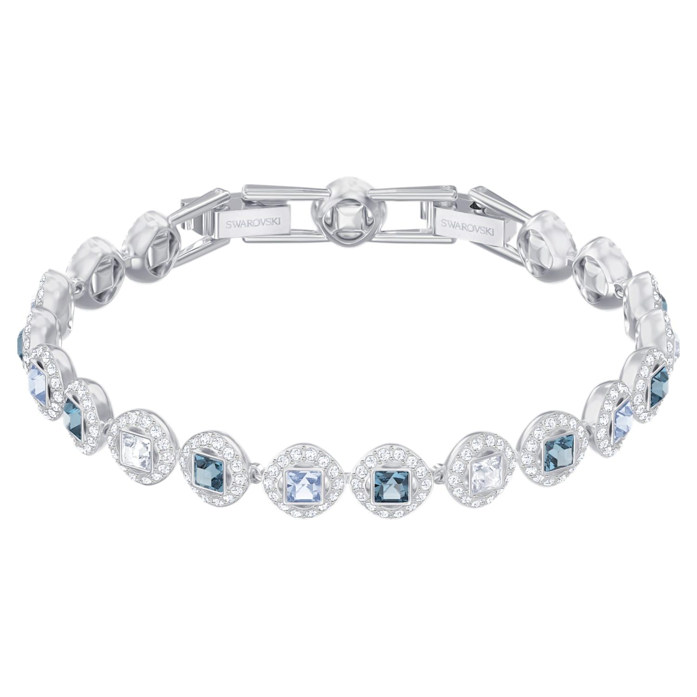 Bracelet Angelic Square, bleu, Métal rhodié