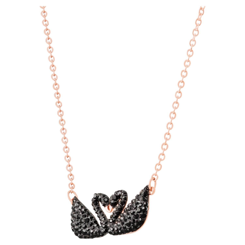 Collier Swarovski Iconic Swan, noir, Métal doré rose