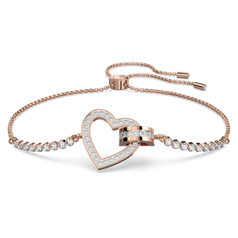 Lovely Bracelet, White, Rose-gold tone plated   Swarovski.com