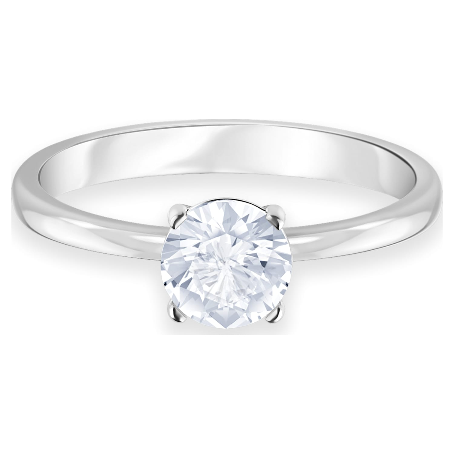 Attract Ring, White, Rhodium plated