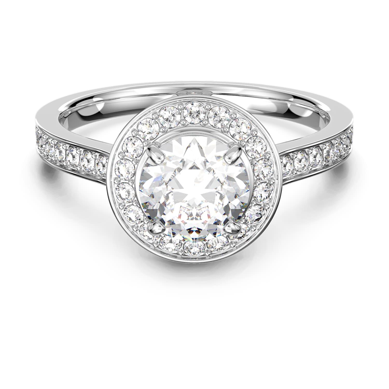 Angelic Round Ring, White, Rhodium plated