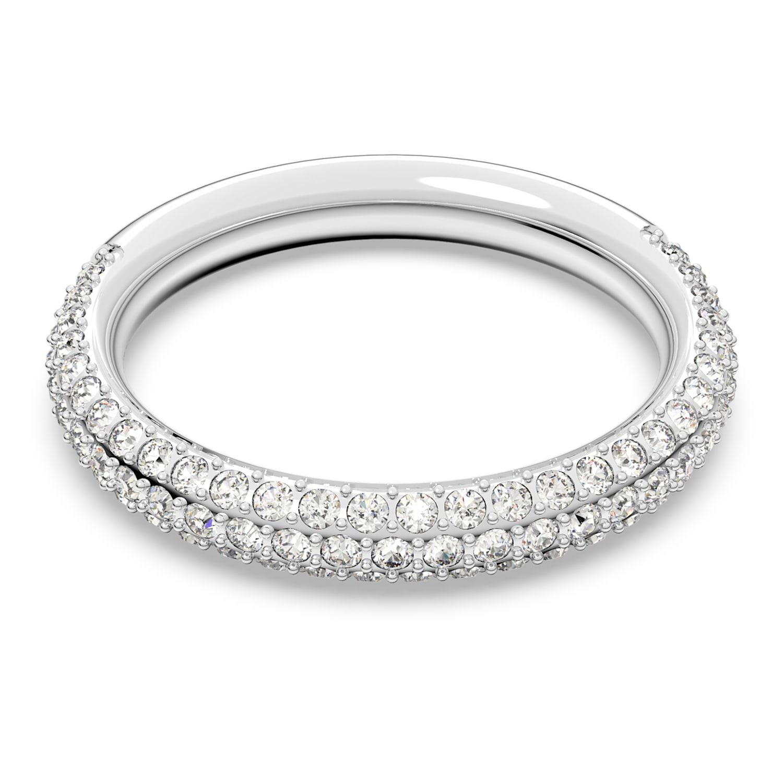 Stone Ring, White, Rhodium plated