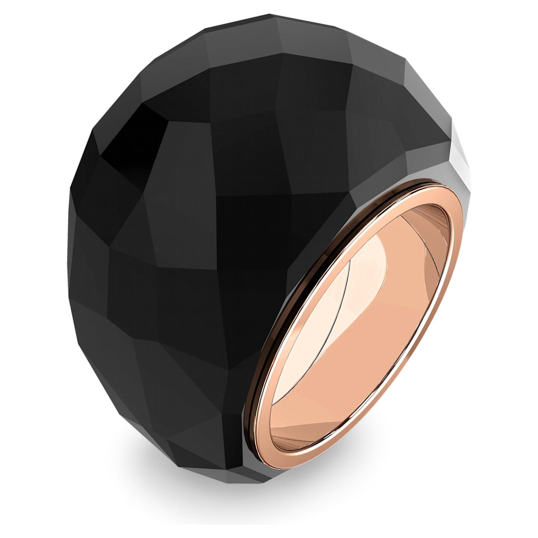 Swarovski Nirvana Ring, Black, Rose-gold tone PVD