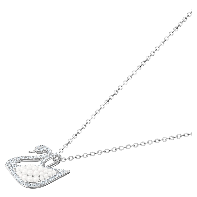 Pendentif Swarovski Iconic Swan, blanc, Métal rhodié