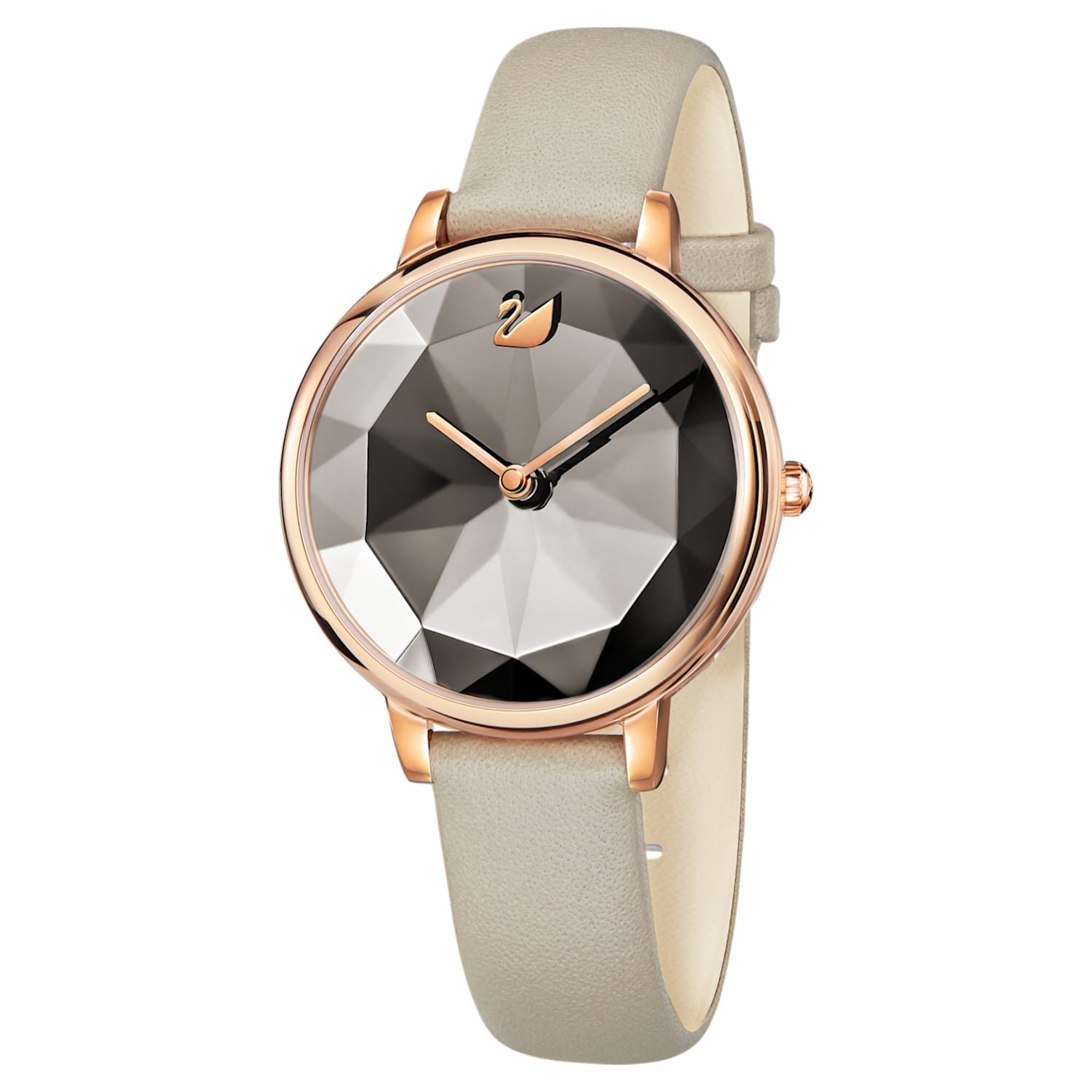 Crystal Lake Watch, Leather strap, Gray, Rose-gold tone PVD