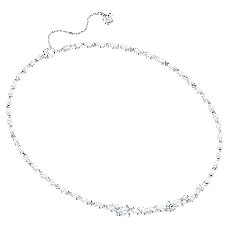 Louison Necklace, White, Rhodium plated | Swarovski.com