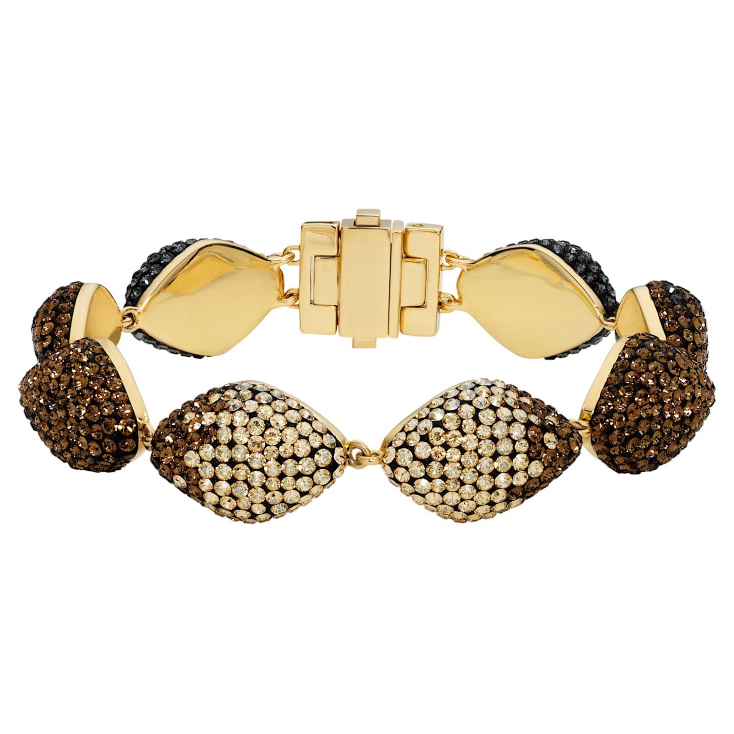 Moselle Bracelet, Brown, Gold-tone plated