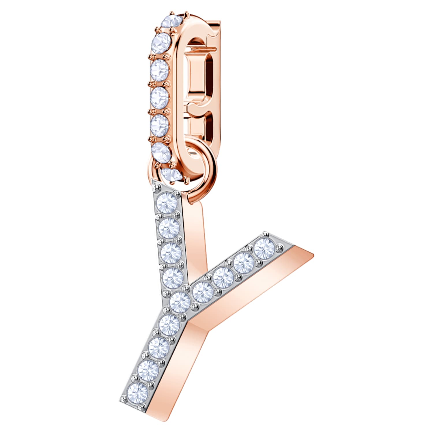 Swarovski Remix Collection Charm Y, White, Rose-gold tone plated
