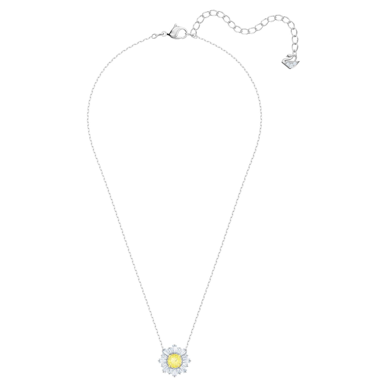 Pendentif Sunshine, jaune, Métal rhodié