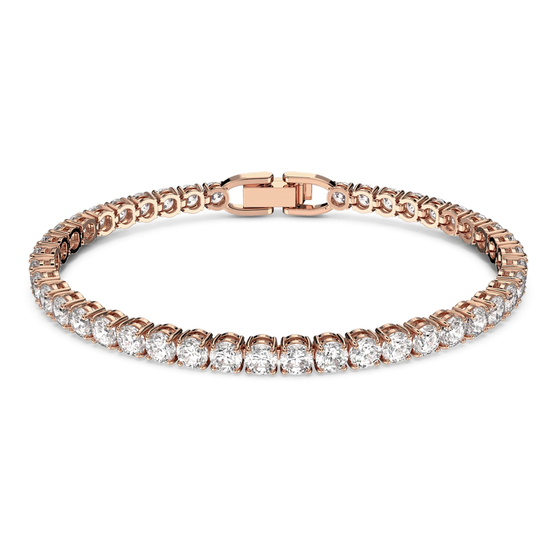 Bracelet Tennis Deluxe, Blanc, Métal doré rose