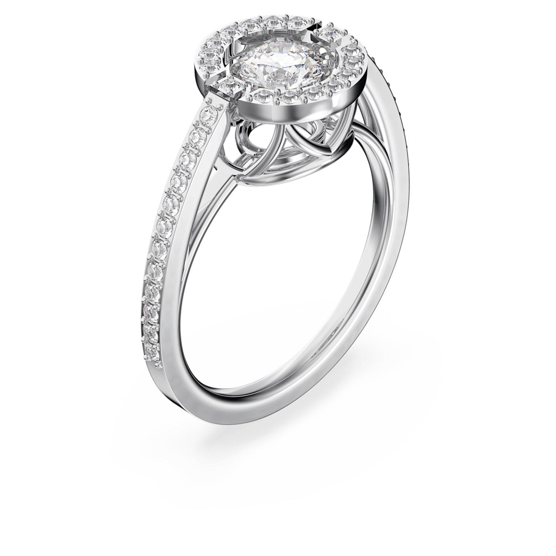 Swarovski Sparkling Dance Round Ring, White, Rhodium plated
