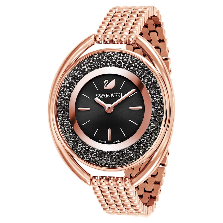 Montre Crystalline Oval, Bracelet en métal, noir, PVD doré rose