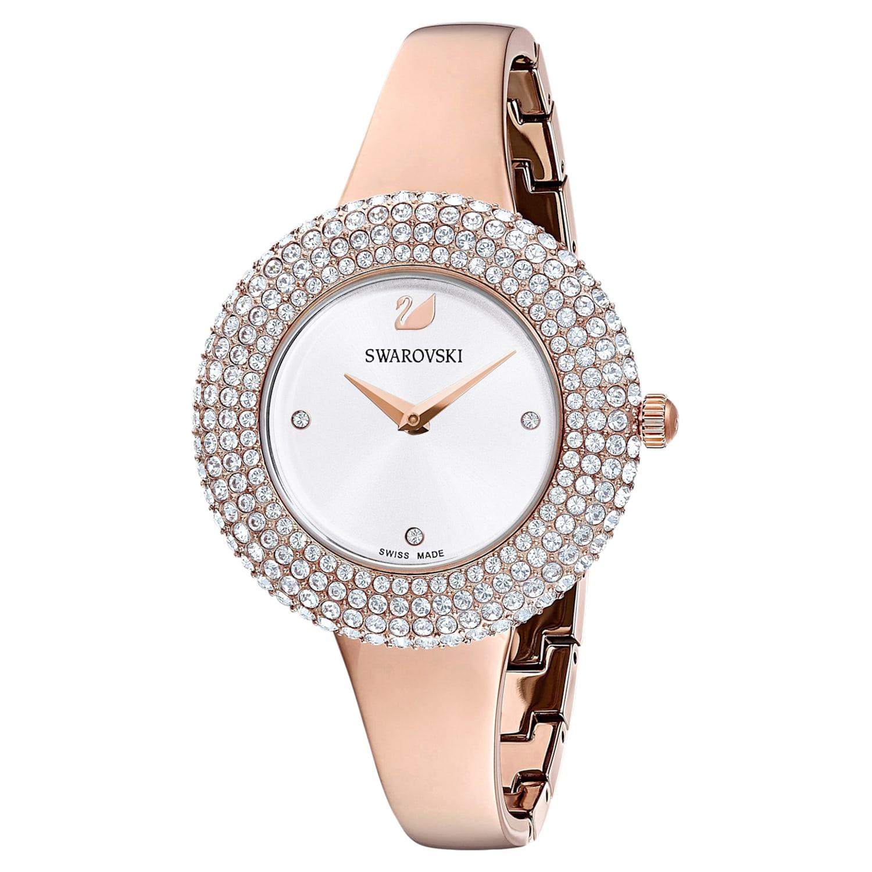 Crystal Rose Watch, Metal Bracelet, White, Rose-gold tone PVD ...