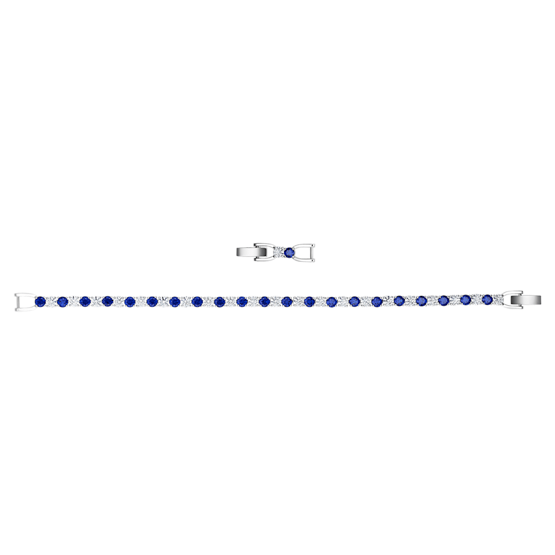 Tennis Deluxe Bracelet, Blue, Rhodium plated | Swarovski.com