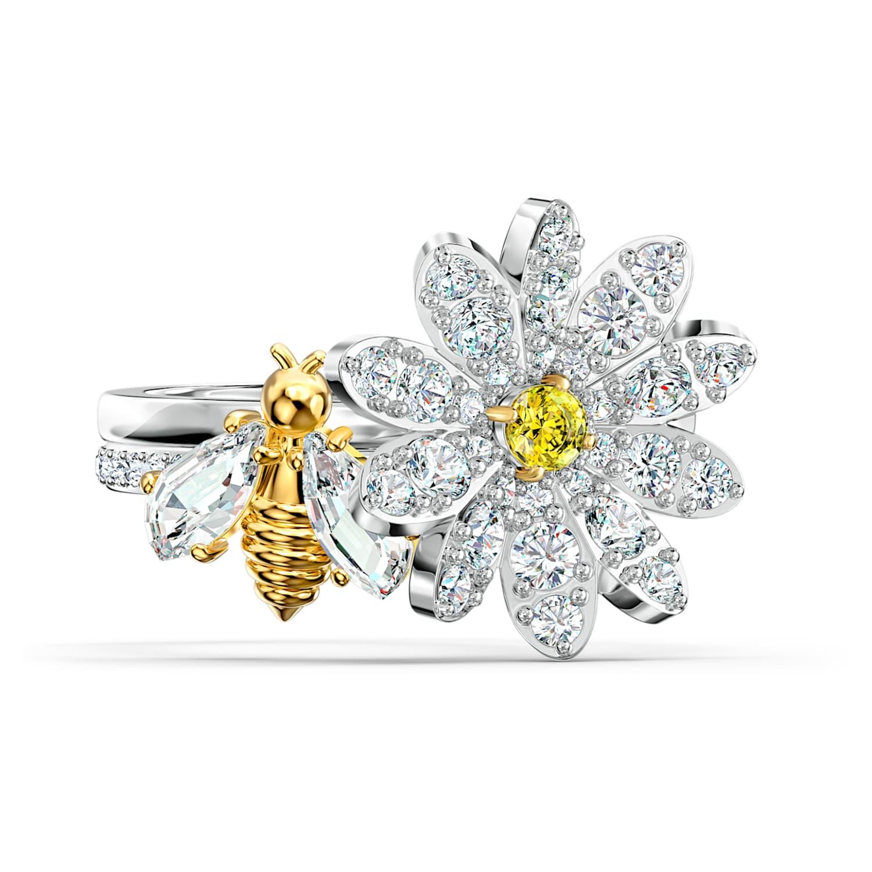 Ladybug Flower ring Gold Plated Artisan Gemstone Ring Sterling Silver Blu green Chrysoprase \u0412right enamel  Healing Stone ring Clearing  Ring