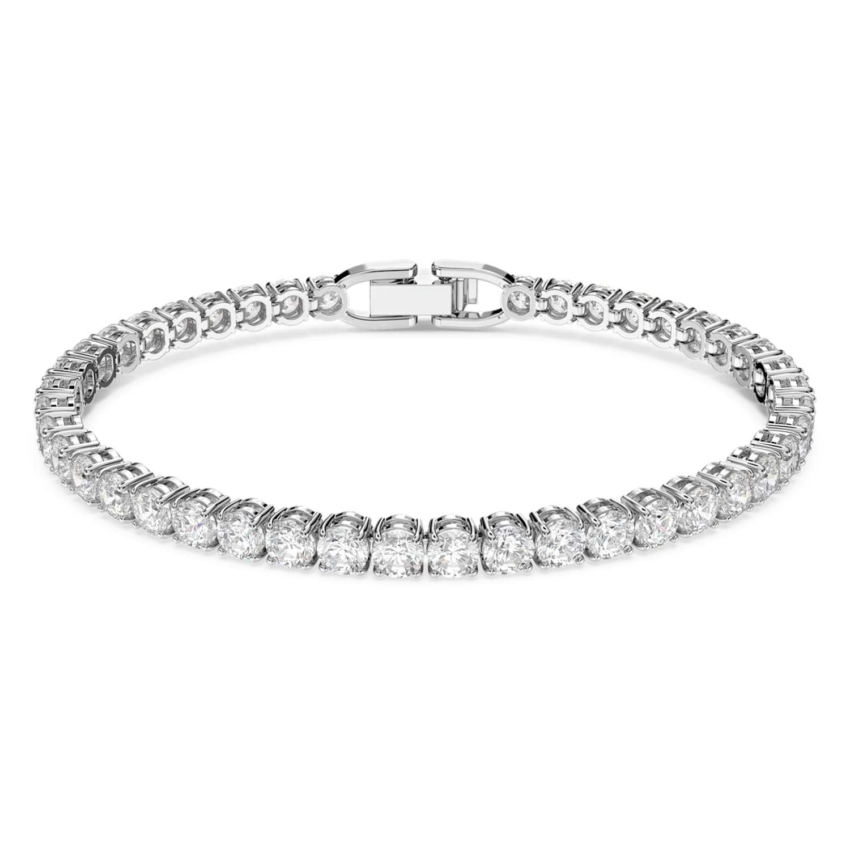 Bracelet Tennis Deluxe, blanc, métal rhodié