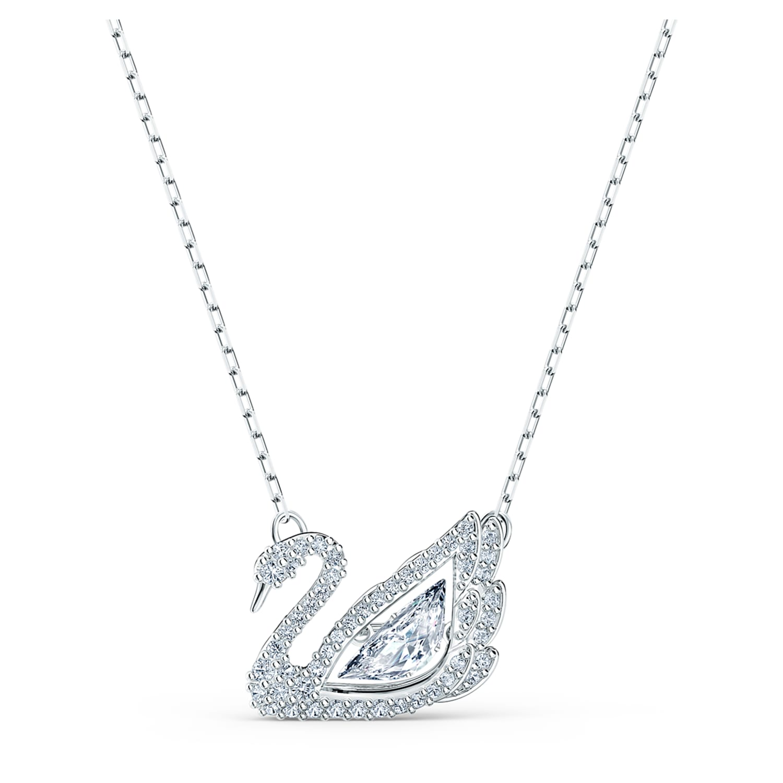 Collier Dancing Swan, blanc, métal rhodié