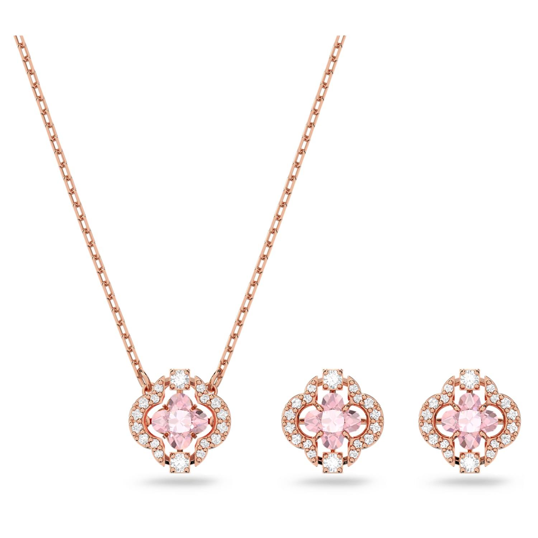 Parure Swarovski Sparkling Dance Clover, rose, métal doré rose ...