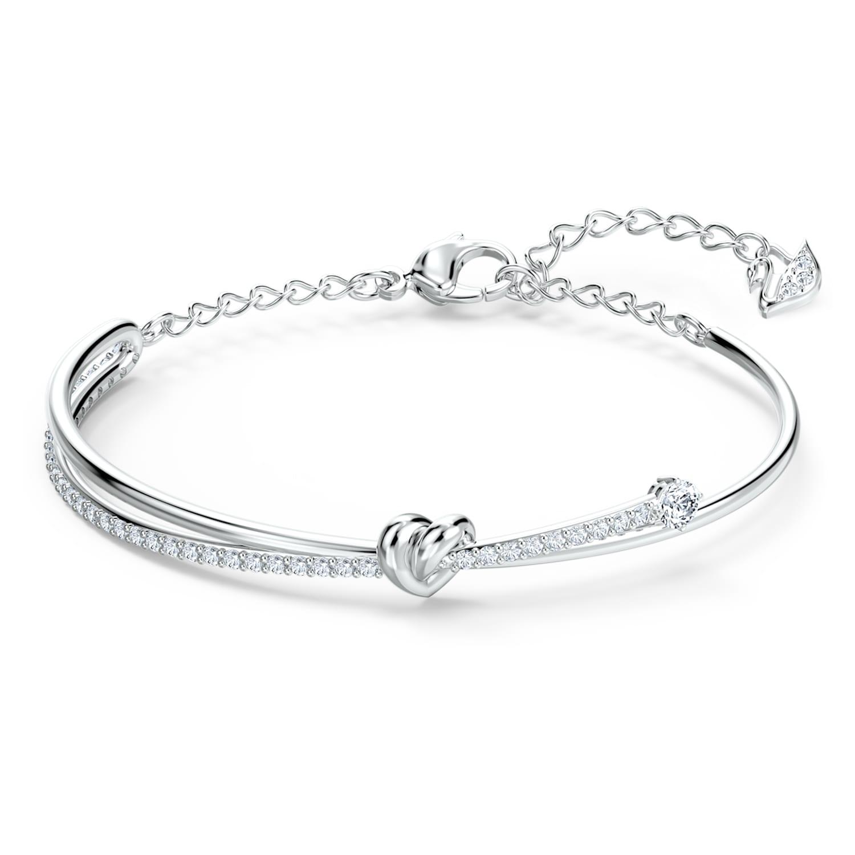Bracelet-jonc Lifelong Heart, blanc, métal rhodié