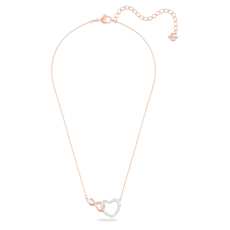 Collier Swarovski Infinity Heart, blanc, finition mix de métal ...