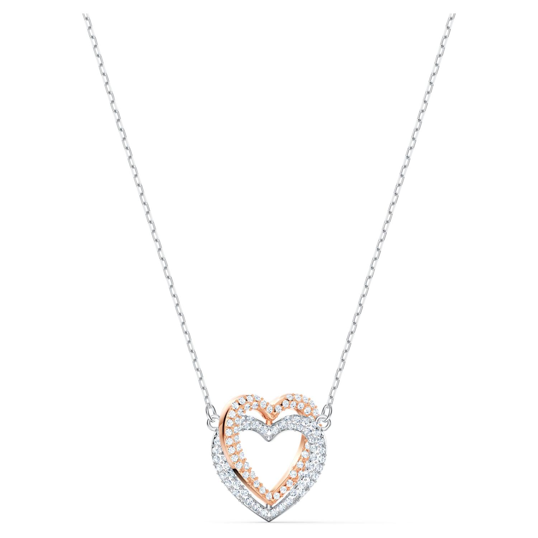 Collier Swarovski Infinity, Cœur, Blanc, Finition mix de métal ...