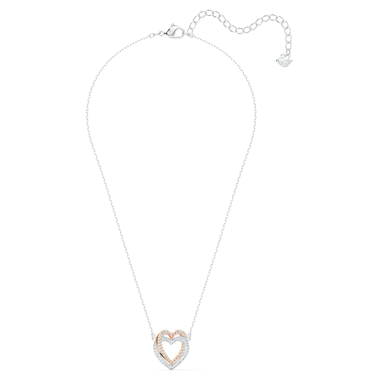 Swarovski Infinity necklace, Heart, White, Mixed metal finish