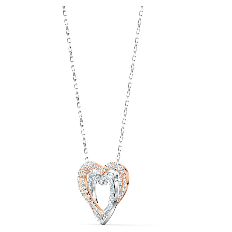 Collier Swarovski Infinity, Cœur, Blanc, Finition mix de métal