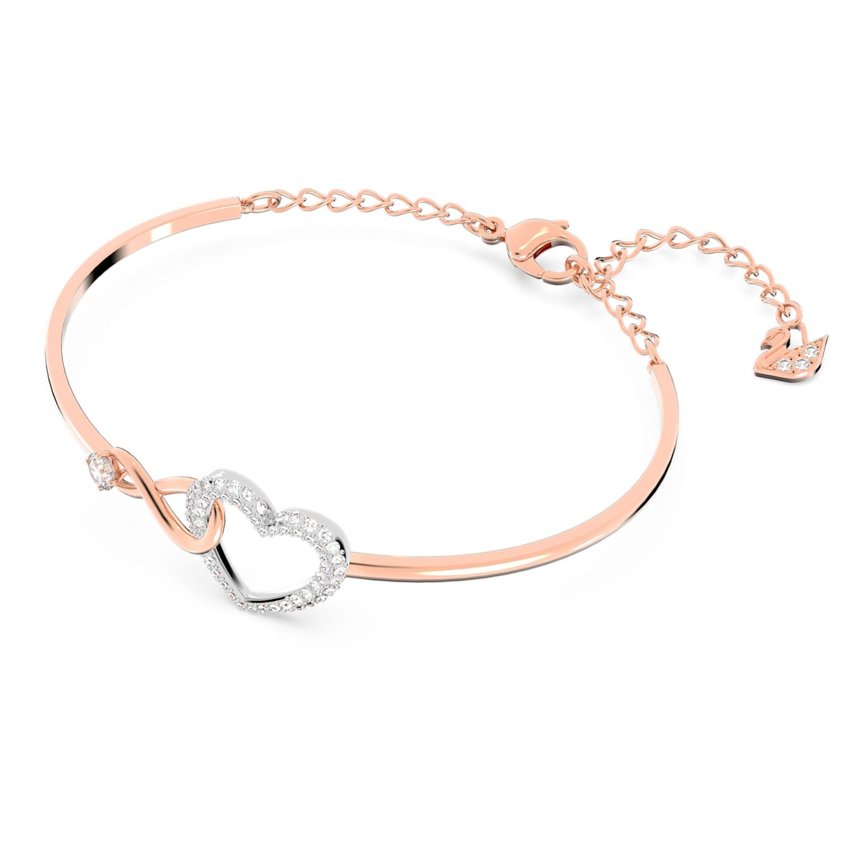 Bracelet-jonc Swarovski Infinity Heart, blanc, finition mix de ...