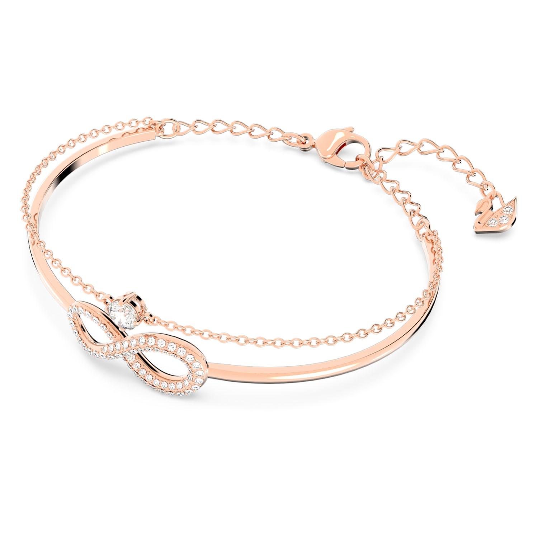 Bracelet-jonc Swarovski Infinity, blanc, métal doré rose