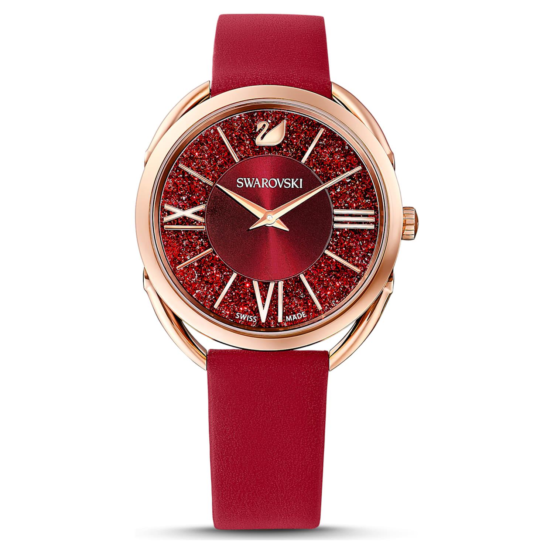 Montre Crystalline Glam, bracelet en cuir, rouge, PVD doré rose