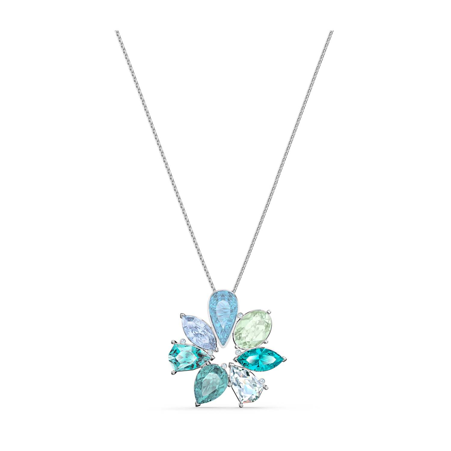 0.78 x 1.17 Inches FB Jewels Solid 925 Sterling Silver Rhodium-Plated Blue Created Opal Wave Pendant
