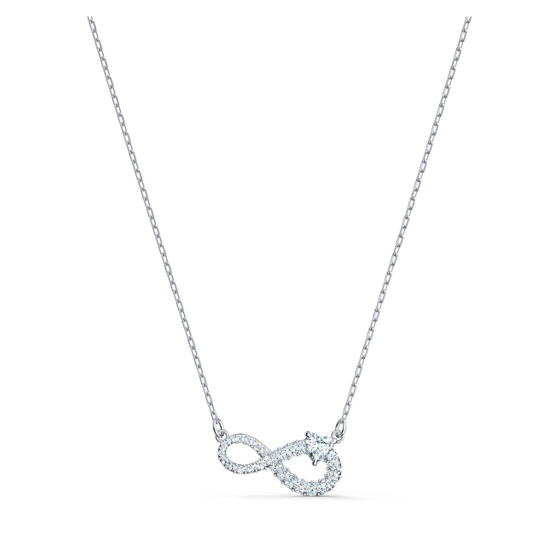 Swarovski Infinity Necklace, White, Rhodium plated | Swarovski.com