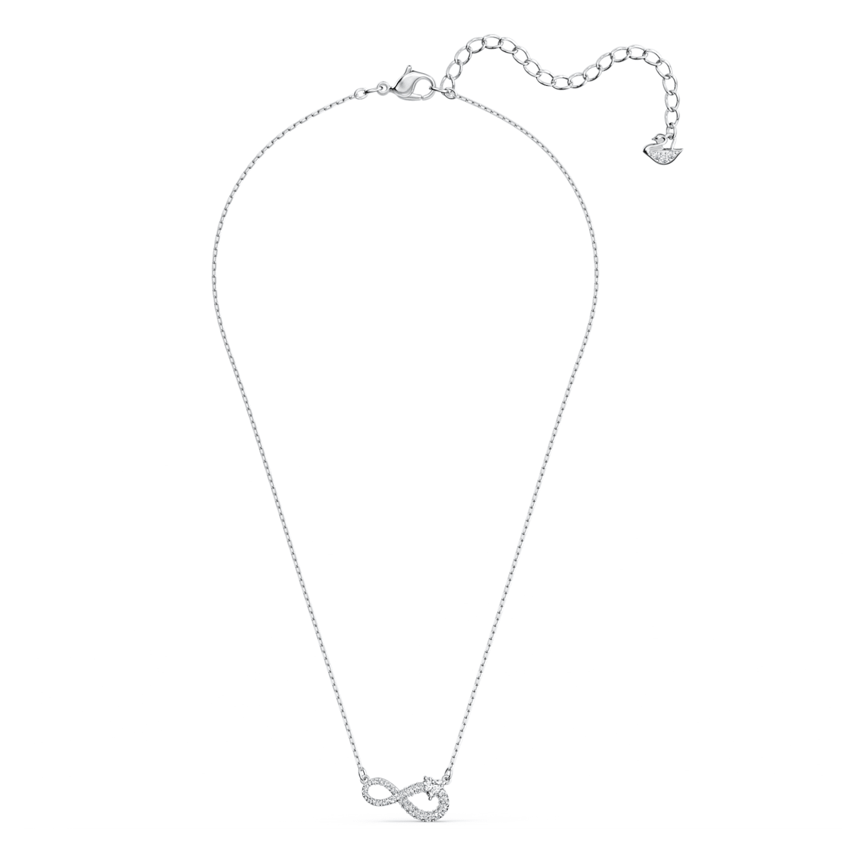 Collier Swarovski Infinity, blanc, métal rhodié