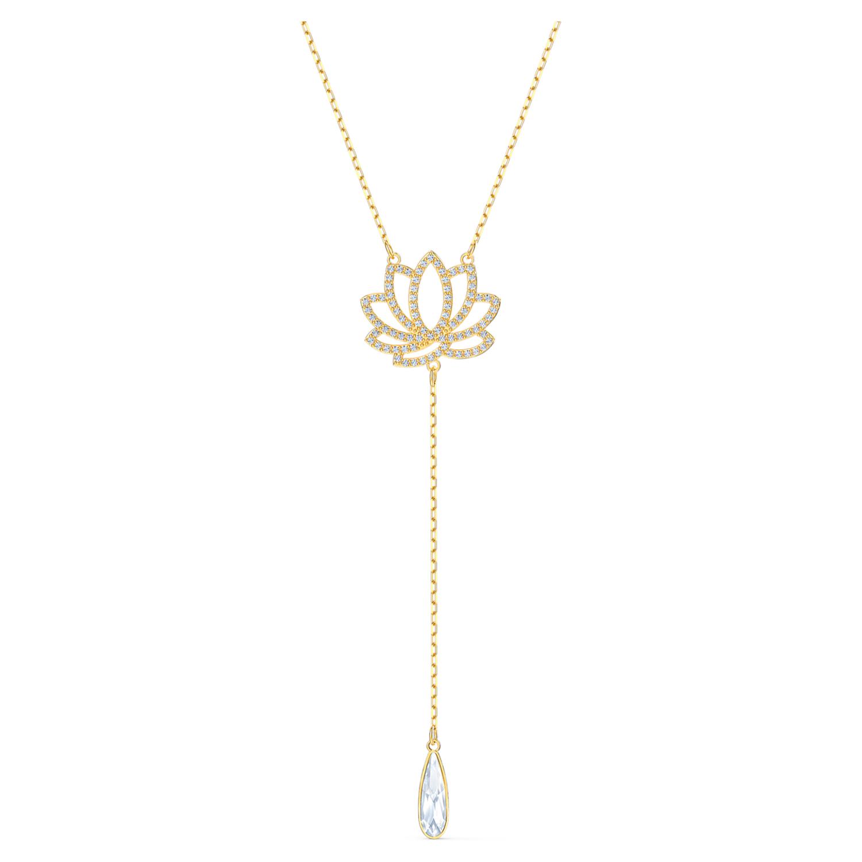 Collier Swarovski Symbolic Lotus, blanc, métal doré