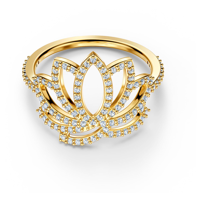 Bague Swarovski Symbolic Lotus, blanc, métal doré
