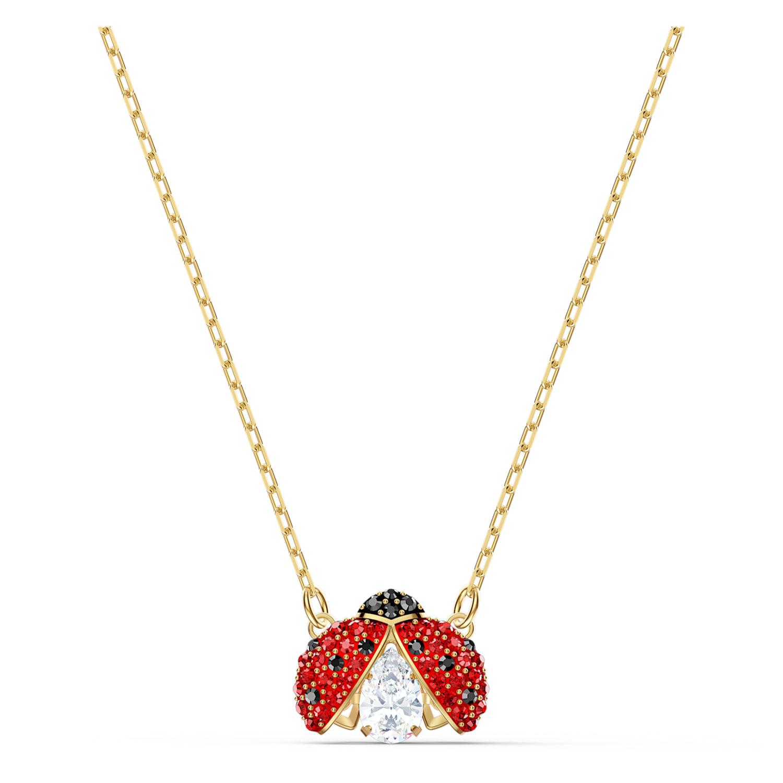Collier Swarovski Sparkling Dance Ladybug, rouge, métal doré