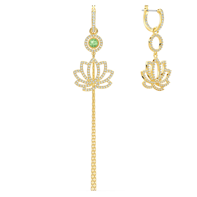 Boucles d'oreilles Swarovski Symbolic Lotus, vert, métal doré