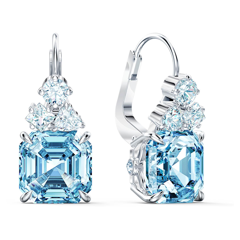 Polished Rhodium Plated over Brass Jewelry Supplies Aquamarine Glass Round Pendant 2 Pieces- -AQUAMARINEPR BGP0023