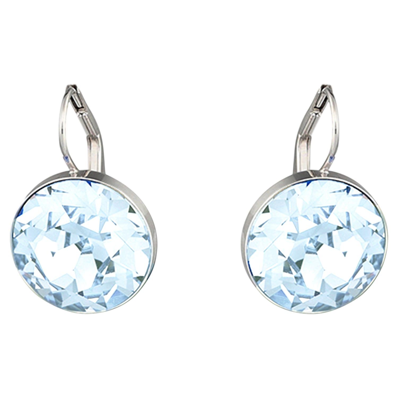 Bella Pierced Earrings, Blue, Rhodium plated