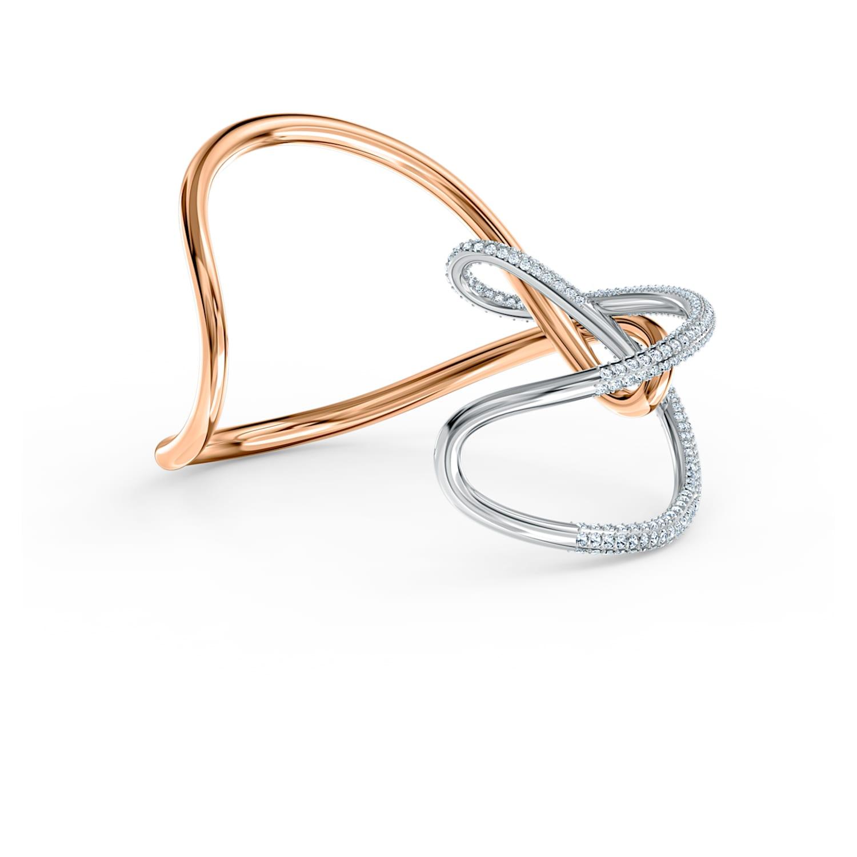 Manchette Swarovski Infinity, blanc, finition mix de métal